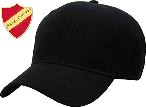 KBY-FITTED BLK (7 1/8) Premium Solid/Plain Fitted Cap Hat, Curved Bill/Brim (Black / 9 Sizes)