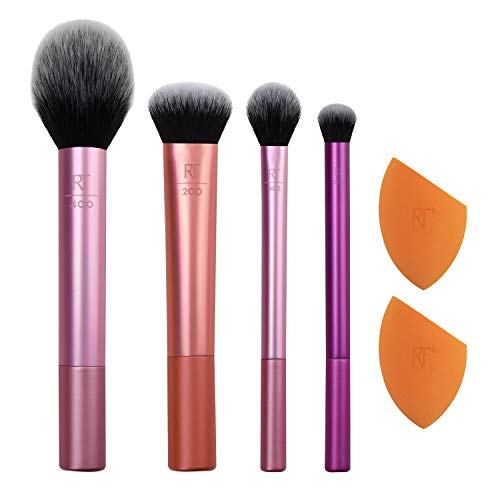 Real Techniques Makeup Brush Set with 2 Sponge Blenders for Eyeshadow, Foundation, Blush, and Concealer, Set of 6