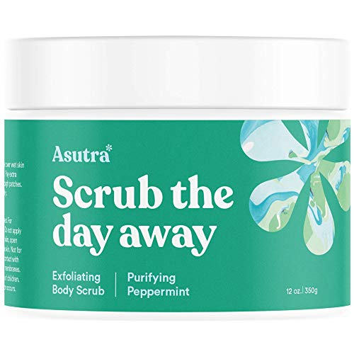 Asutra, Organic Exfoliating Body Scrub, Purifying Peppermint, 100% Dead Sea Salt Scrub, Ultra Hydrating and Moisturizing Scrub, Skin Smoothing Jojoba, Sweet Almond, and Argan Oils, 12 oz. Jar