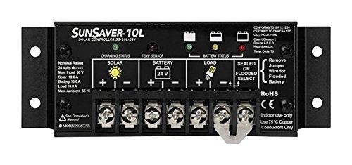 MORNINGSTAR SUNSAVER SS-10L-24V CHARGE CONTROLLER – 10 AMP, 24 VOLT DC, LOW VOLTAGE DISCONNECT