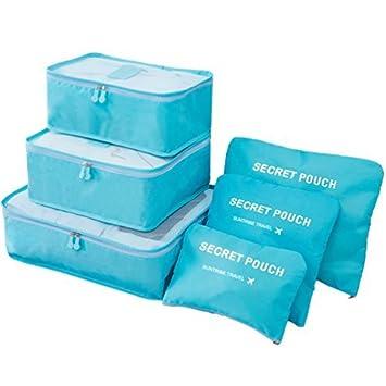 9d61516fc918 Packing Cubes - 6Pcs Travel Luggage Organiser Suitcase Compression Pouches  Storage Bag (Blue)