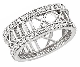 (Sterling Silver Thick Roman Numeral Ring w/CZ Size : 7)