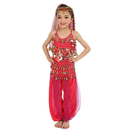 Maylong Girls Lantern Pants Belly Dance Outfit School Halloween Costume DW10 (Medium, hot Pink) -