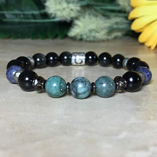 Womens Taurus Zodiac Bracelet, Genuine Emerald Bracelet, Genuine Sapphire Bracelet, Obsidian Bracelet, Smoky Quartz Bracelet, Zodiac Jewelry, Gemstone ()