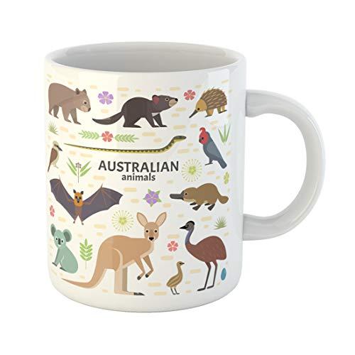 Semtomn Funny Coffee Mug Australian Animals Flying Fox Kangaroo Koala Tasmanian Devil 11 Oz Ceramic Coffee Mugs Tea Cup Best Gift Or Souvenir -