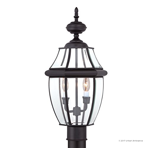 Luxury Colonial Outdoor Post Light, Large Size: 21''H x 11''W, with Tudor Style Elements, Versatile Design, High-End Black Silk Finish and Beveled Glass, UQL1148 by Urban Ambiance by Urban Ambiance (Image #7)