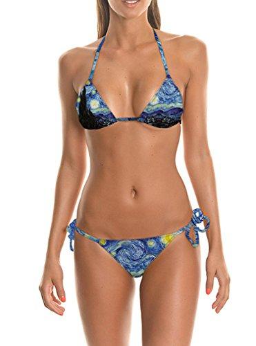 Pretty321 Women Girl lovely 3D Blue whirlpool Strappy Swimsuit Cute Bikini Set Amazon