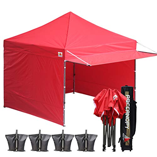 ABCCANOPY 10x10 Easy Pop up Canopy Tent Instant Shelter Commercial Portable Market Canopy with Matching Sidewalls, Weight Bags, Roller Bag,Bonus 23 Square Feet of Canopy Awning (RED)