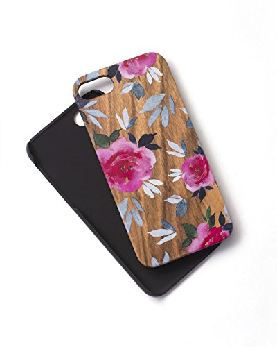 Watercolor Woodie Case for iPhone 7 Zebra Wood Gorgeous Floral Paint That Won't Scratch Off Durable Beautiful Designer Tech Candy (Tech Candy Phone Case)