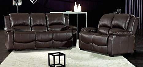 Astounding Havana 3 2 Brown Recliner Leather Sofa Set Amazon Co Uk Machost Co Dining Chair Design Ideas Machostcouk