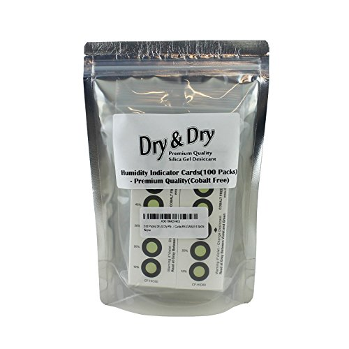 [100 Packs] Dry & Dry Premium Cobalt Free Humidity Indicator Cards(REUSABLE 6 Spots)