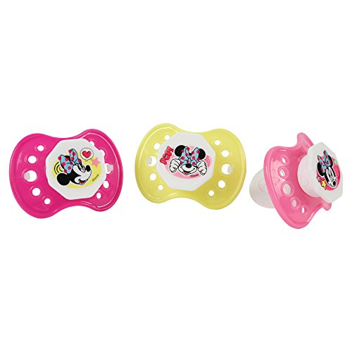Disney Pacifier Infant (Disney Minnie Mouse Pacifier Set, Pink/Yellow, 3 Count)