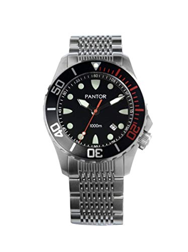 (Pantor Seahorse Pro Dive Watches for Men, Mens Sports Analog Dive Watch with Screw Down Crown and He Release Valve, Japanese Automatic Mens Diver Watches with 1000m Waterproof and Sapphire Crystal)