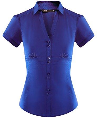 Donna Scollo Punta Colletto 7501n e Blu a V a oodji Camicia Ultra con 55FBa