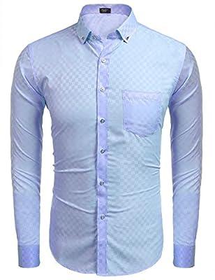 Modfine Men's Business Casual Slim Fit Button Down Design Plaid Dress Shirt