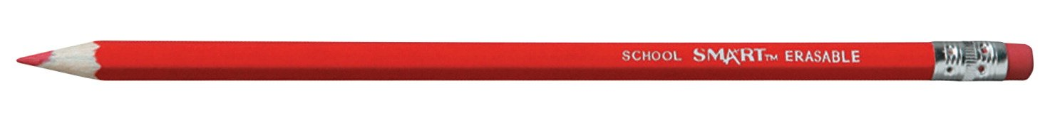 School Smart 84452 Crayon Lead Grading Pencil with Latex Free Eraser - Pack of 12 - Red