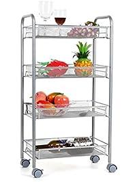 homfa 4 tier mesh wire rolling cart multifunction utility cart kitchen storage cart on wheels. Interior Design Ideas. Home Design Ideas