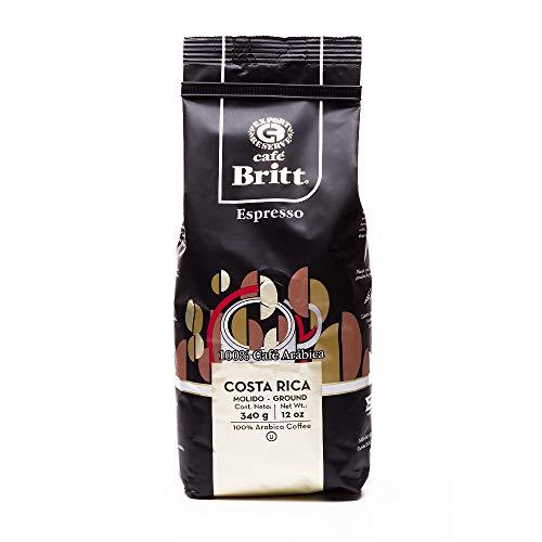 Café Britt® - Costa Rican Espresso Coffee (12 oz.) - Whole Bean, Arabica Coffee, Kosher, Gluten Free, 100% Gourmet & Dark Roast (1 Year Shelf-Life)