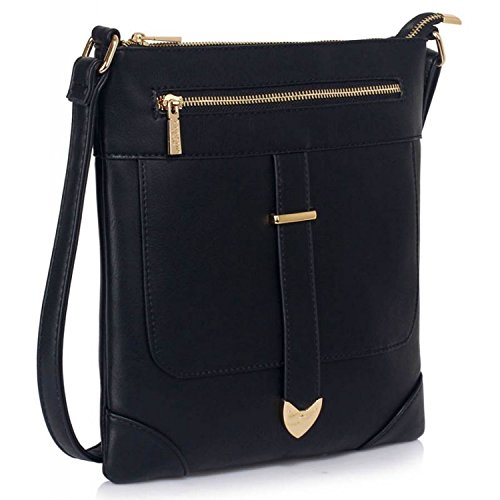 A tracolla da donna in pelle sintetica Xardi Londra Progettista borsetta a tracolla da donna ragazze scuola Black Style 2