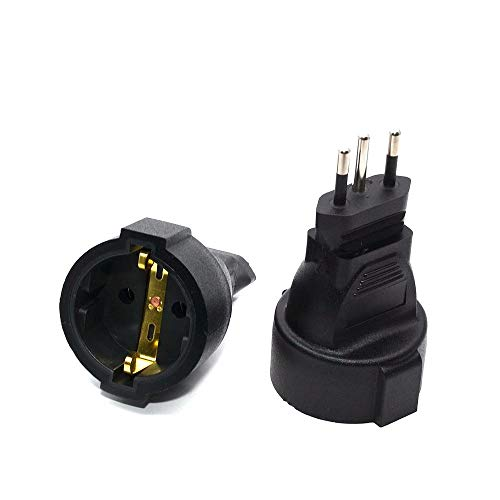 Black AC Power Brazil Plug Wall Brazil 3 Pin to EU Travel Power Adapter for Home Travel Use 1pcs