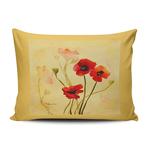 Fanaing Bedroom Custom Decor Poppy Shadows in Red and Gold Pillowcase Soft Zippered Yellow Throw Pillow Cover Cushion Case Fashion Design One-Side Printed Boudoir 12X16 Inches