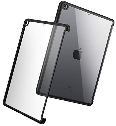 Poetic Slim Lightweight Clear Bumper Case for Apple iPad 10.2 (7th Gen 2019), Compatible with Official Apple Smart Cover and Smart Keyboard, Black