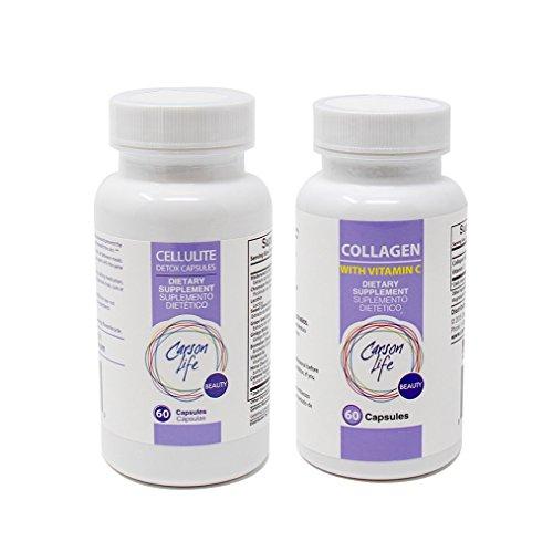 CARSON LIFE - Anti Cellulite Detox Pills (1 Bottle, 60 Tablets) Bundle with Vitamin C Collagen Capsules - (1 Bottle, 60 Capsules) - Helps Prevent and Eliminate Cellulite - for Men & Women