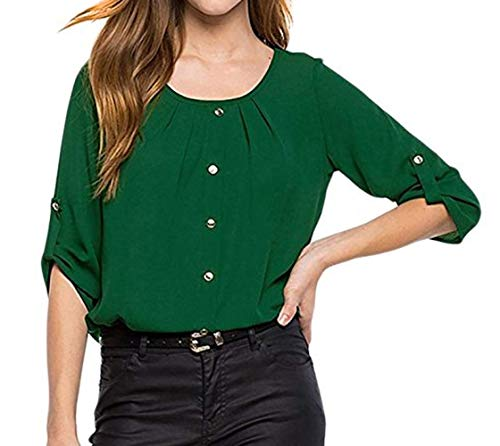 4 Maglietta Bluse Cime Donna Top Moda Maniche con Bottoni Primavera Quotidiani 3 Camicetta Shirt Camicie Simple Fashion Autunno e Verde Casual vgx16q