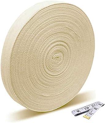Cinta de algodón de 50 metros y 2,5 cm de anchura, cinta bies de algodón, patrón espiguilla, cinta de sarga para coser, ornamentar, ribetear, cinta para costura y manualidades., natural, talla única: