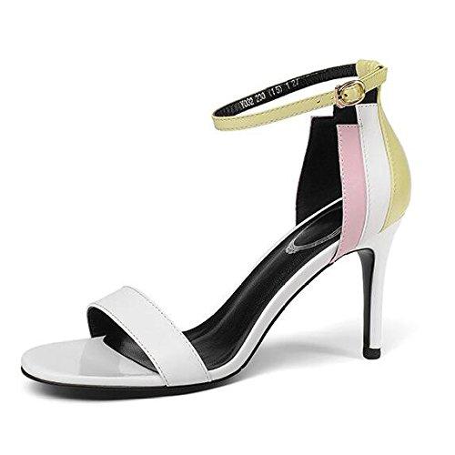 Donne Estate Cuciture Colore Sandali Tacchi Alti Cinturino Alla Caviglia Stiletto Fibbia Peep-toe Commercio Scarpe Da Sposa Partito, White-38