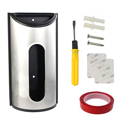 Wall Mount Grocery Bag Dispenser, Saver, Yolyoo Stainless Steel Kitchen Grocery Bag Holder Anti-Fingerprints Mounting Screws, screwdriver, Double-sided tape and stickers Included