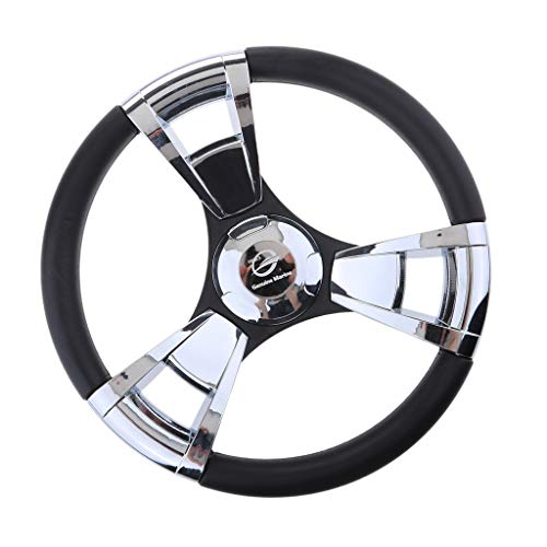 (Homyl Stainless Steel 3 Polished Spoke Steering Wheel 350mm For Marine Boat)