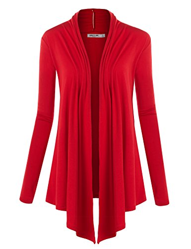 WSK850 Womens Draped Open- Front Cardigan XXXL Red -