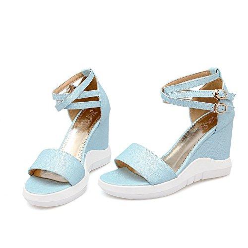 Amoonyfashion Femmes Talons Hauts Matériau Souple Boucle Solide Bout Ouvert Cales-sandales Bleu