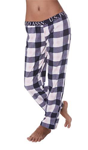 U.S. Polo Assn. Womens Super Soft Plaid Fleece Lounge Sleepwear Pajama Pant Blue Nights Medium