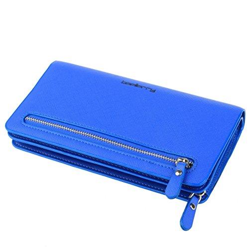 Womens Blue Wallet (BaoLan Women's Wallets Leather Wristlet Clutch Long Wallet Card Holder with Wrist Strap Wallets for Women Royal Blue)