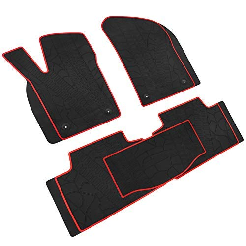 Red Rug Grand Trunk - iallauto All Weather Floor Liners Custom Fit Jeep Grand Cherokee 2017 2018 2019 Heavy Duty Rubber Car Mats Vehicle Carpet Odorless-Black Red