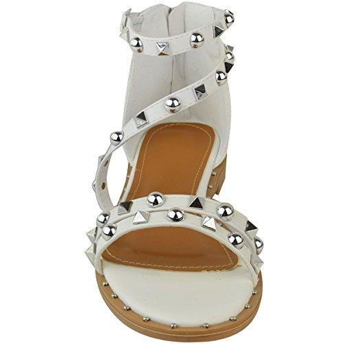 Moda Sandali Donna Attillati Tacco Piatto Borchiato Cinturino Alla Caviglia Per Le Vacanze Estive Sandali Bianchi In Finta Pelle Bianca