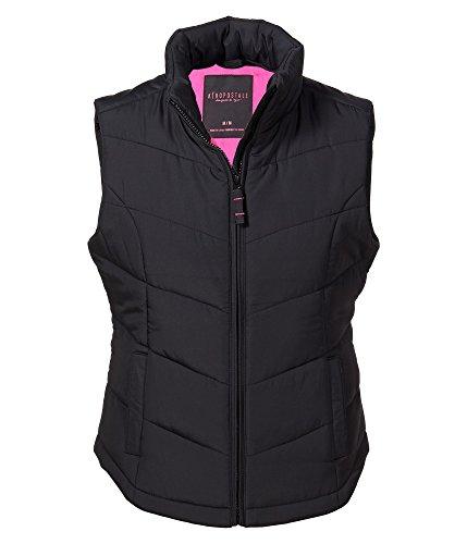 Aeropostale Women's Solid Chevron Quilted Vest S Black
