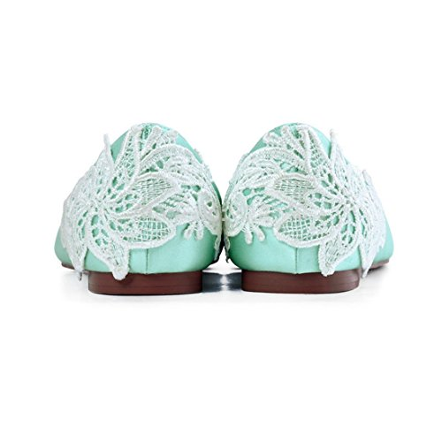 Toe Flower Lace Ladies Flats Ballet Satin 5 Handmade UK 7 MINITOO Green Comfortable Almond wq1IWwEA