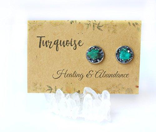 Boho Stud Earring Jewelry with Raw Crystal Gemstone Birthstone Turquoise