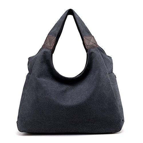 À Toile Hgdr Portable Bandoulière Pour En Femme Black Sac OF5qT