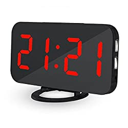 CIGERA Digital Alarm Clock with Auto/Manual Dimmer, Dual USB Port for Charging,Extra Large LED Numerber,Outlet Powered and Battery Backup,Black+Red