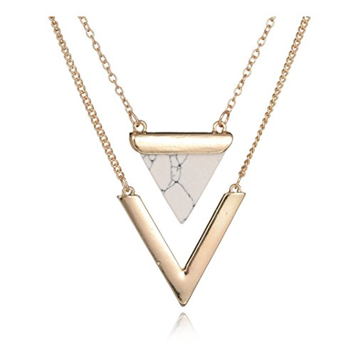 Shoopic Layered Triangle Natural Stone Necklace V Bar Shape Marble Pendant Collar Necklace for (Layered Stone)