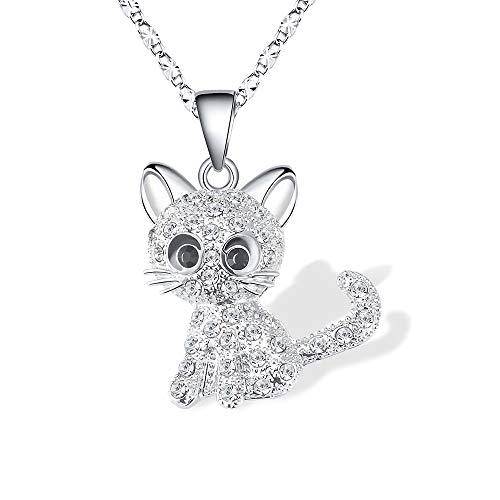 Kitty Cat Pendant Necklace Jewelry for Women Girls Kids, Cat Lover Gifts Silver Chain Necklace 18+2.3 (Best Jewelry Gifts For Lovers)