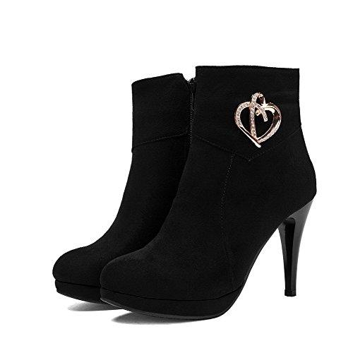 AllhqFashion Mujeres Caña Baja Tachonado Botas con Tachonado de Diamante de Imitación Negro