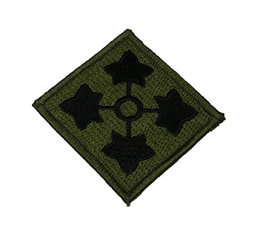 4th Id Patch (4TH INFANTRY DIVISION Square Shoulder Patch - Subdued OD Olive Drab - Veteran Owned)