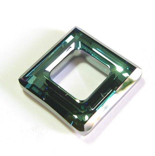 1 pc Swarovski Crystal 4439 Square Frame Pendant Bermuda Blue 14mm / Findings / Crystallized - 14 Crystal Mm Bermuda