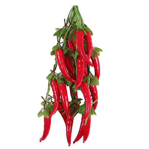 B Blesiya 5Pcs Bunch of Artificial Red Chili Pepper Peppers - Plastic Vegetable Fruit ()