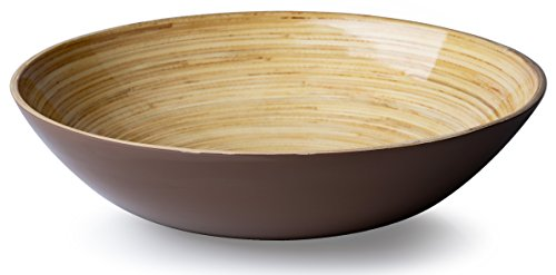 Casa Bellante Bamboo Bowl For Dining ((Soup, Cereal, Salad), Wide Shape, Brown, 1-Piece,